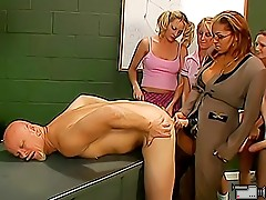 Bald mature man gets fucked in the ass by a busty strapon teacher right in front of her sex class students