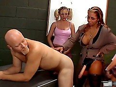 Four younger sluts come together with their mature teacher to fuck shit outta tight male ass hole.